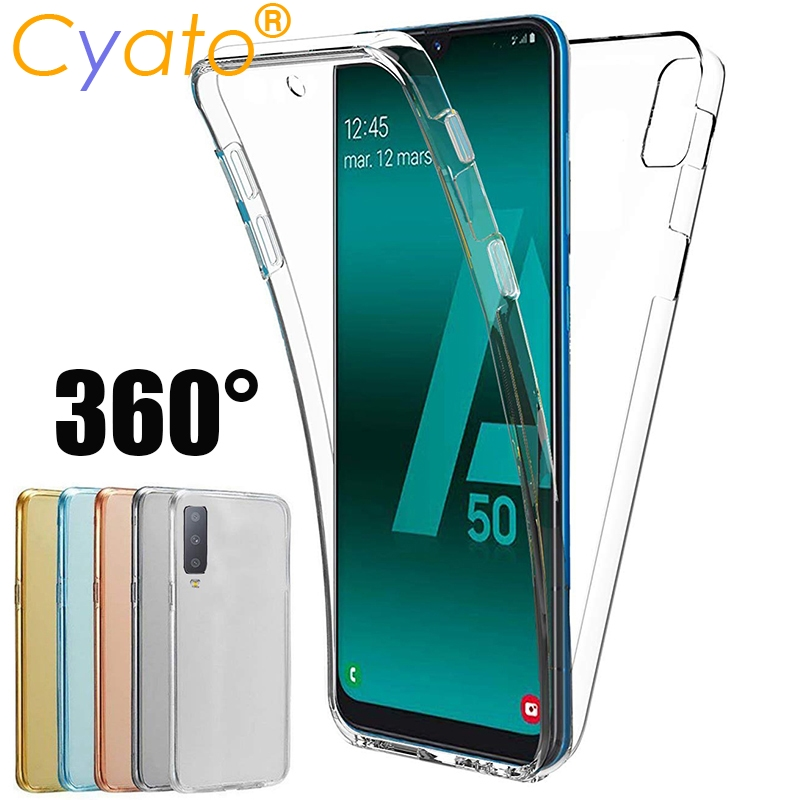 CYATO 360 Full Body Protection Phone Case For <font><b>Samsung</b></font> Galaxy S10 Plus S10e A30 A40 <font><b>A50</b></font> M30 M40 Soft TPU <font><b>Back</b></font> <font><b>Cover</b></font> Shell Gifts image