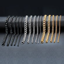 ZORCVENS Chunky Miami Curb Chain Bracelet for Men Stainless Steel Cuban Link Chain Wristband Classic Punk Vintage Male Jewelry