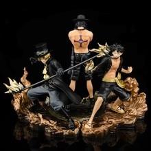 3 pçs figura anime dxf fraternidade ii macaco d luffy figuras portgas d ace sabo pvc figuras de ação collectible modelo brinquedos