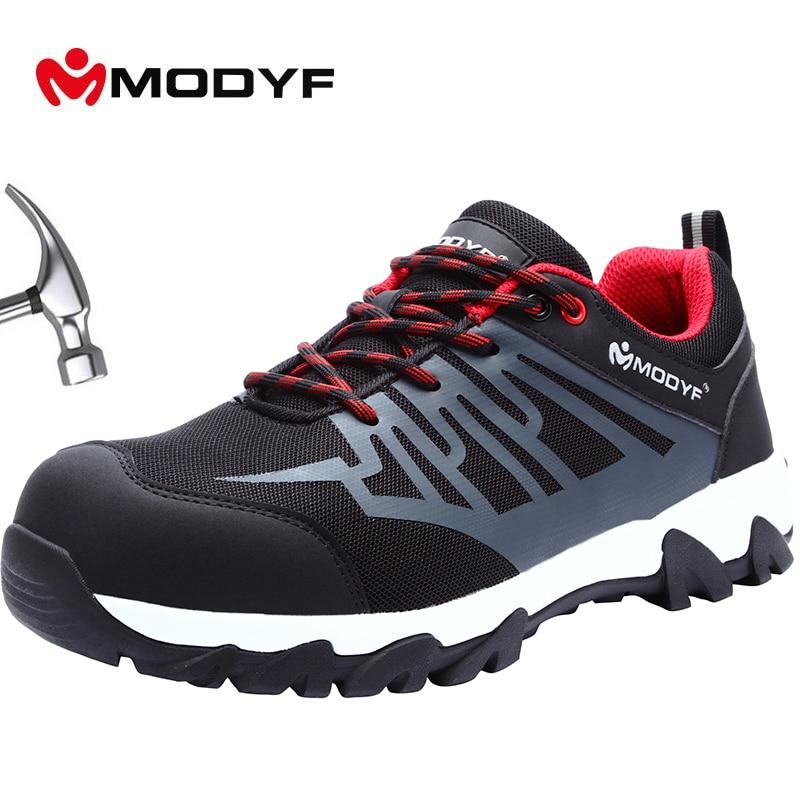 MODYF Brand Work Boots Construction Men s Outdoor Steel Toe Cap Shoes Men Puncture Proof High