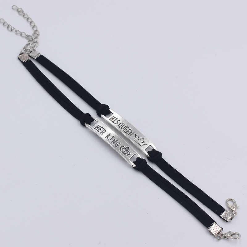 1/2 piezas 2 Estilo su Reina su rey negro clásico pulsera de enamorado de acero inoxidable pareja pulsera regalo accesorios de joyería de moda