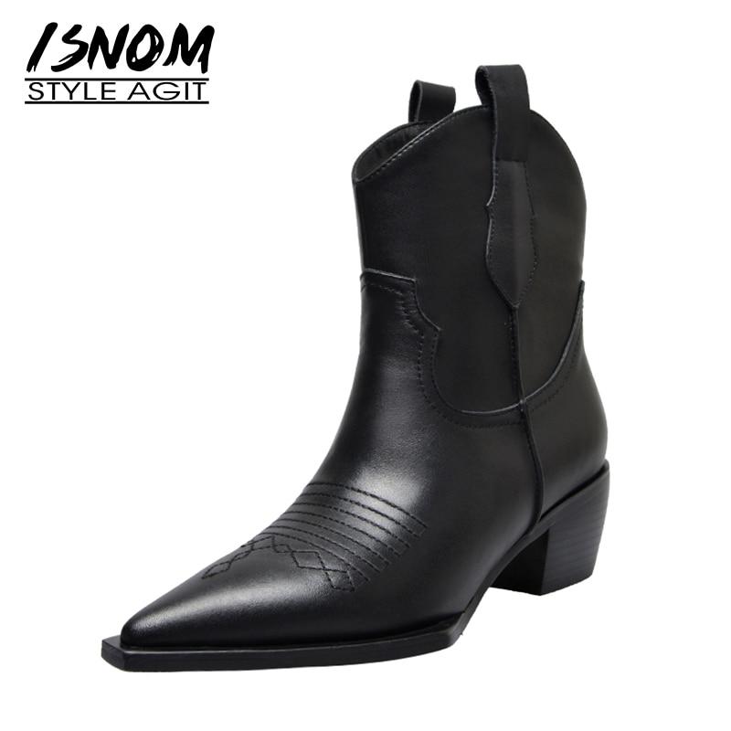 ISNOM Western bottines Cowboy femmes chaussons mode bout pointu chaussures femme talons épais chaussures en cuir cubain dames automne