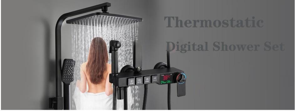 H22ca1c125aab4a7189183b1897db94d4H Digital Shower Set Luxury Black Gold Thermostatic Shower System Rainfall Spa Shower Head Brass Bathtub Faucet Digital Shower Set