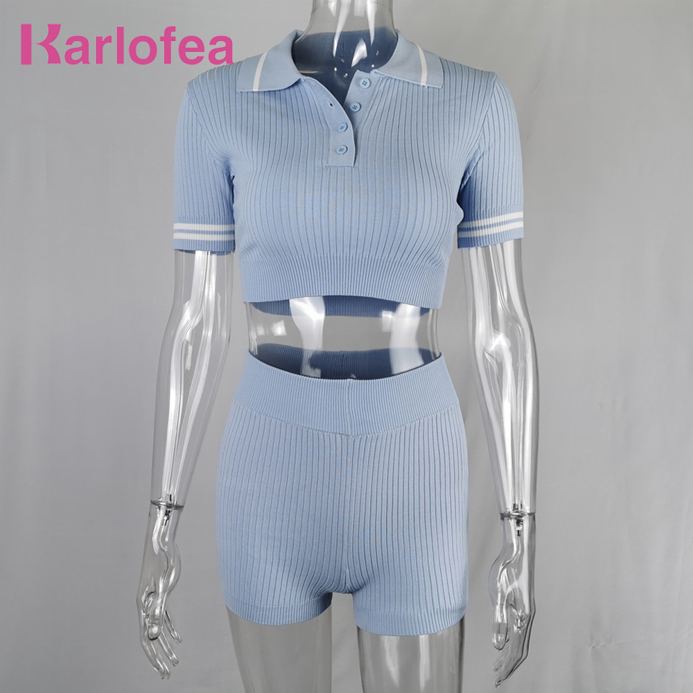 Karlofea Lady Knitted Shorts Set Fashion Casual 2 Piece Matching Suit Street Wear Lovely Comfort Lounge Sets Chic Workout Wear