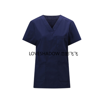 Women Men Classic Scrub Top V Collar Short Sleeve Shirt Pure Cotton Medical Uniform Solid Color Surgical Doctor Nurse Workwear women s lab coat mock wrap doctor nurse beautician jacket medical uniform long sleeves notched collar nurse dress