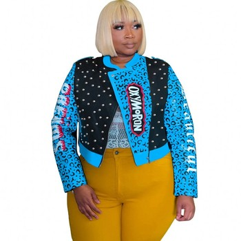 Chaqueta de piel sintética recortada de talla grande 4XL 5XL para mujer, chaqueta de Moto de leopardo con remaches Punk, chaqueta de calle, abrigo corto, Bombers para mujer prendas de vestir