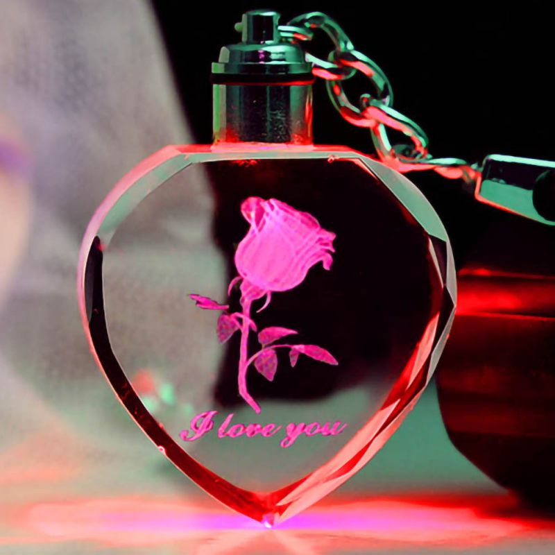 Luminous Fairy Crystal Pink LED Light Keychain Heart Shape Transparent Keyring With Lamp Valentine's Day Gift For Decor New
