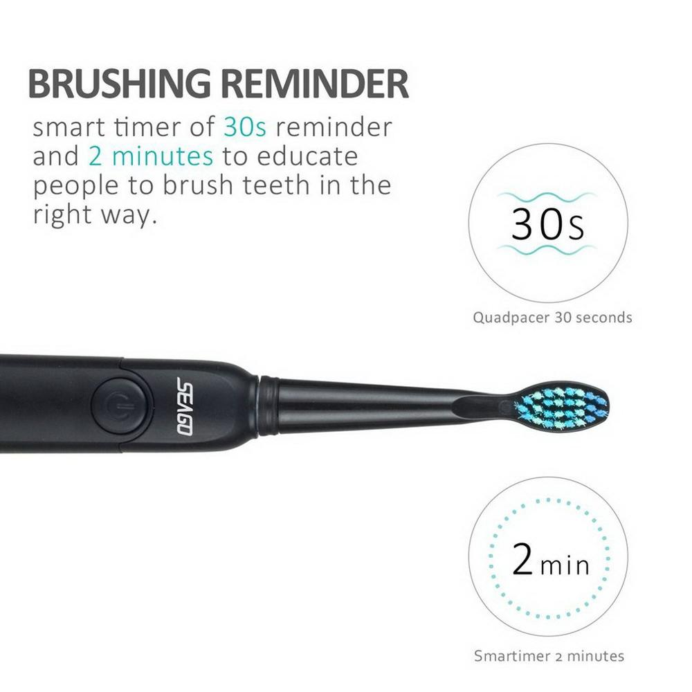 SEAGO SG - 949 Sonic Electric Toothbrush Rechargeable Adult Sonic Toothbrush 4 Mode Travel Toothbrush with 3 Brush Head Gift
