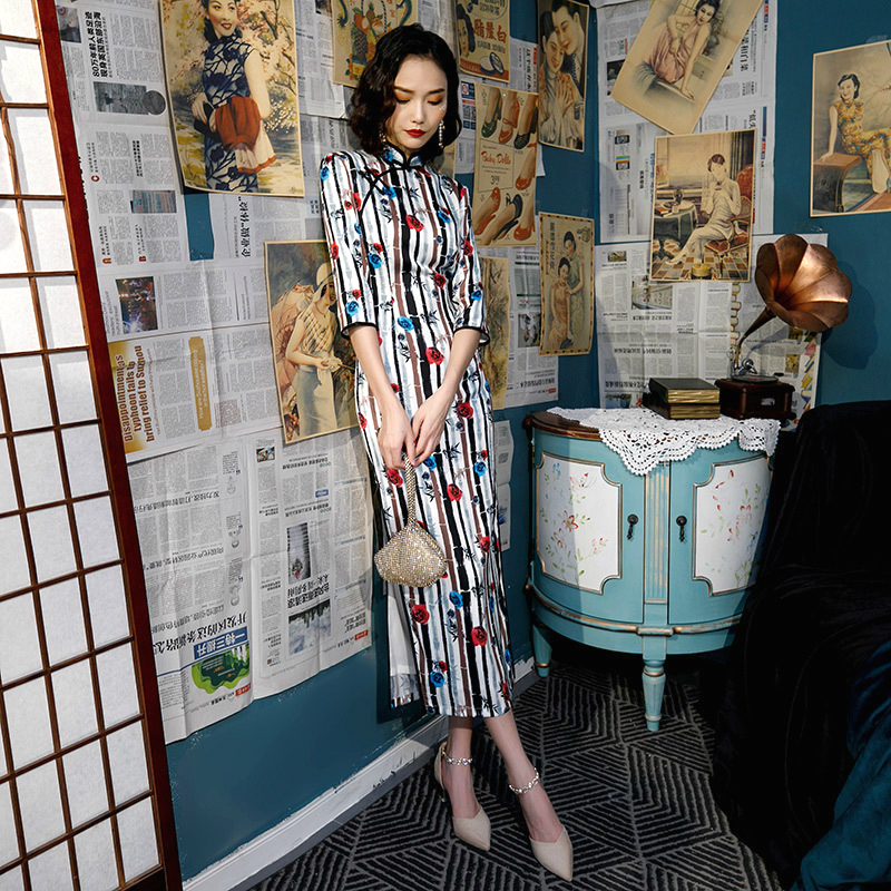 SHENG COCO осень зима с длинными рукавами новые Cheongsam Qipao платья старинные бамбуковые с принтом длинные женские стильные китайские платья