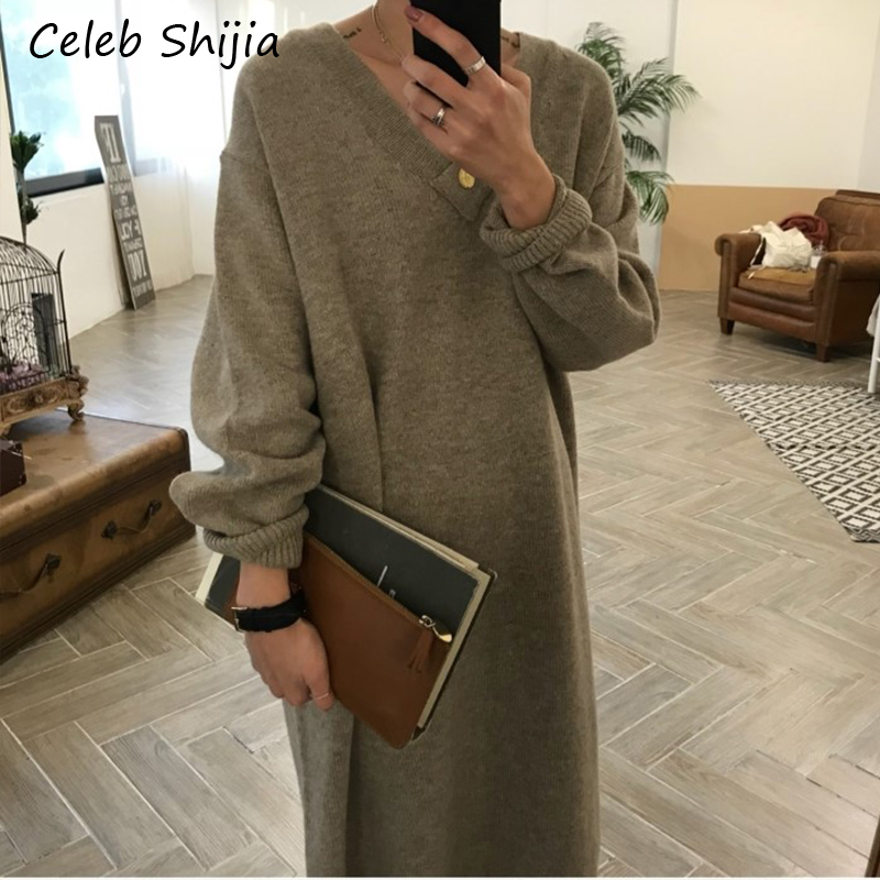 SHIJIA Korean chic loose thicken maxi sweater dress v neck Long-sleeve oversize keep warm knit dress female autumn winter 2019