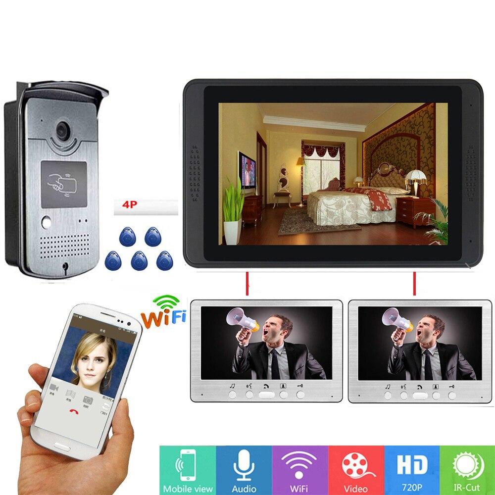 APP Control RFID Unlock Door Intercom 7 Inch LCD Wifi Wireless Video Door Phone Doorbell Visual Intercom SD Recording System