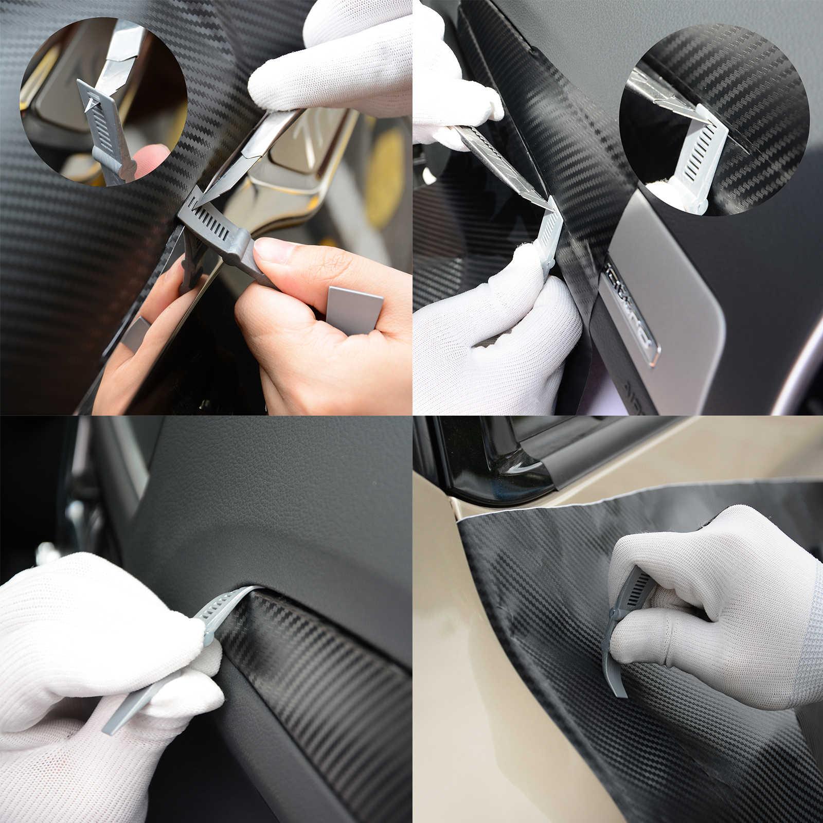FOSHIO vinil şal araba karbon Fiber mıknatıs çekçek pencere tonu kauçuk kazıyıcı etiket uygulaması araç seti sarma aksesuarları