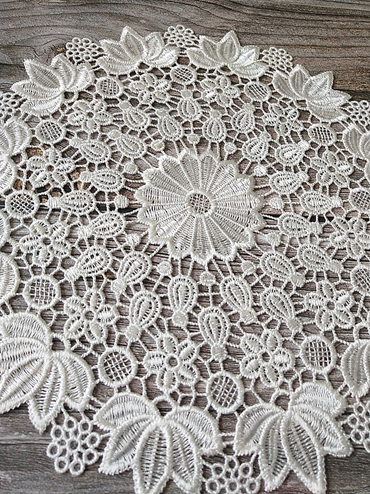 Super Deal 35ea Hot Lace Round White Embroidery Table Place Mat