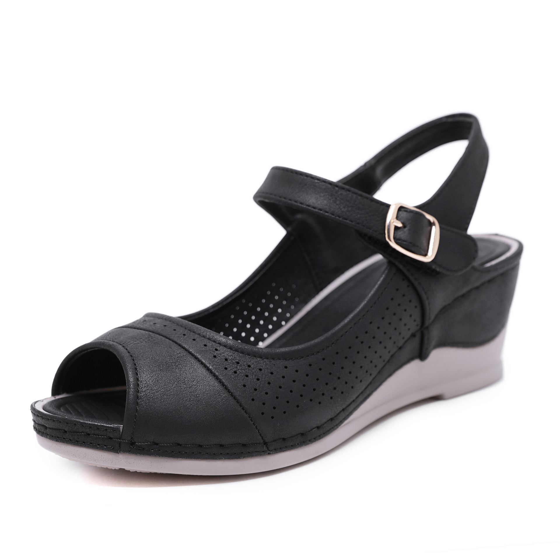 CINESSD 2020 Size 36-42 Women Platform Wedge Sandals Ladies Vacation Beach Black Shoes Bucket Open Toe Gladiator Sandals