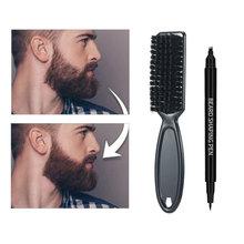 2 In 1 Beard Pen Beard Filler Pencil And Brush Beard Enhancer Waterproof Moustache Coloring Shaping Tools Hair Styling Pencil