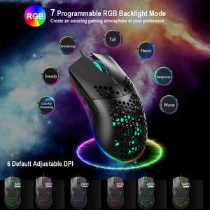 Image 5 - 6400 DPI przewodowa mysz RGB podświetlenie mysz do gier z USB J900 z sześcioma regulowanymi wydrążonymi ergonomicznymi wzorami na pulpit gracz komputerowy