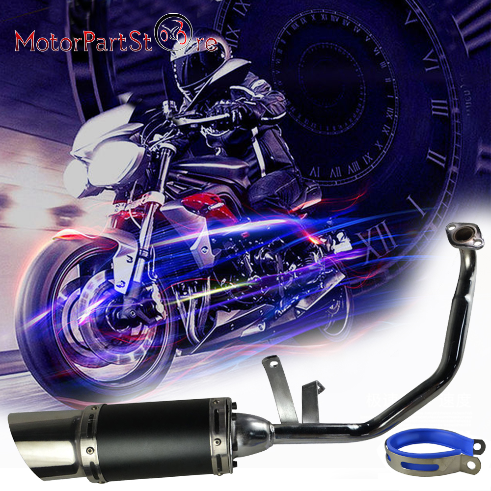 610 mm Motorcycle Retro Tail <font><b>Exhaust</b></font> Pipe Muffler Silencer Performance <font><b>System</b></font> Kit For ATV GY6 <font><b>150cc</b></font> 4 Stroke Scooter image