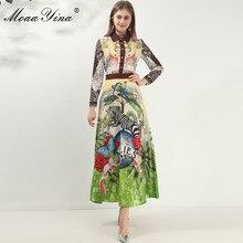 MoaaYina אופנה מעצב שמלת אביב סתיו נשים שמלה ארוך שרוול בעלי החיים פרחוני בציר מקסי שמלות