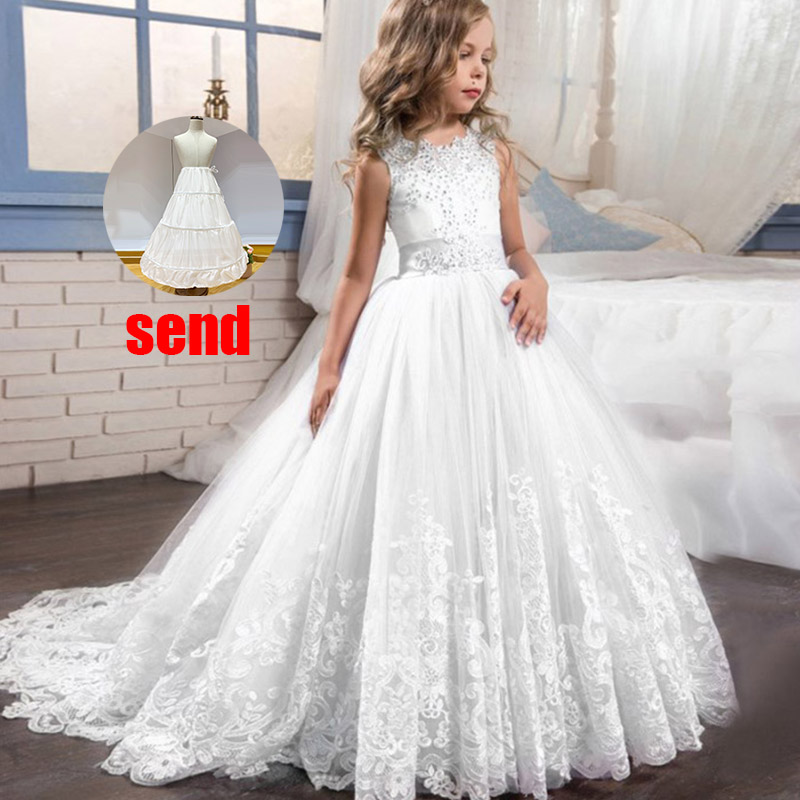 Платье с цветочным узором для девочек на свадьбу; вечерние платья; vestidos de primera comunion; платье для первого причастия; Пышное Бальное платье для детей; цвет белый - Цвет: white
