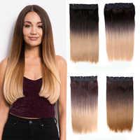 Ombre Clip en extensiones de cabello Natural falso postizos 5 Clip en la extensión del pelo largo de pelo sintético recto parche para las mujeres