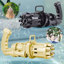 New Kids Automatic Gatling Bubble Gun Toys Summer Soap Water Bubble Machine Outdoor Electric Bubble Machine Children Gift Toys