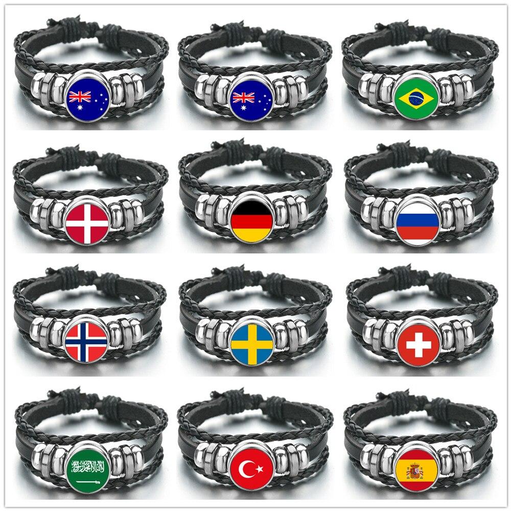 National Flag Bracelets Men Women Australia Brazil Denmark Germany Russia Norway Switzerland Turkey Spain Israel Leather Bangle(China)