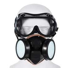 2 em 1 máscara de gás protetora dupla filtro anti gás químico inseticida respirador anti-poeira proteção smog prevenção máscara facial