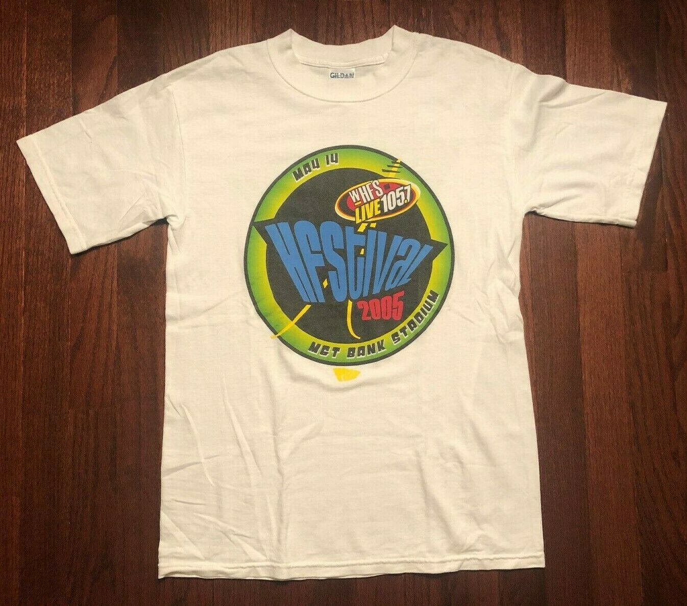 2005 WHFS HFSTIVAL CONCERT T SHIRT MENS SMALL WHITE FOO FIGHTERS COLDPLAY SUM 41 image