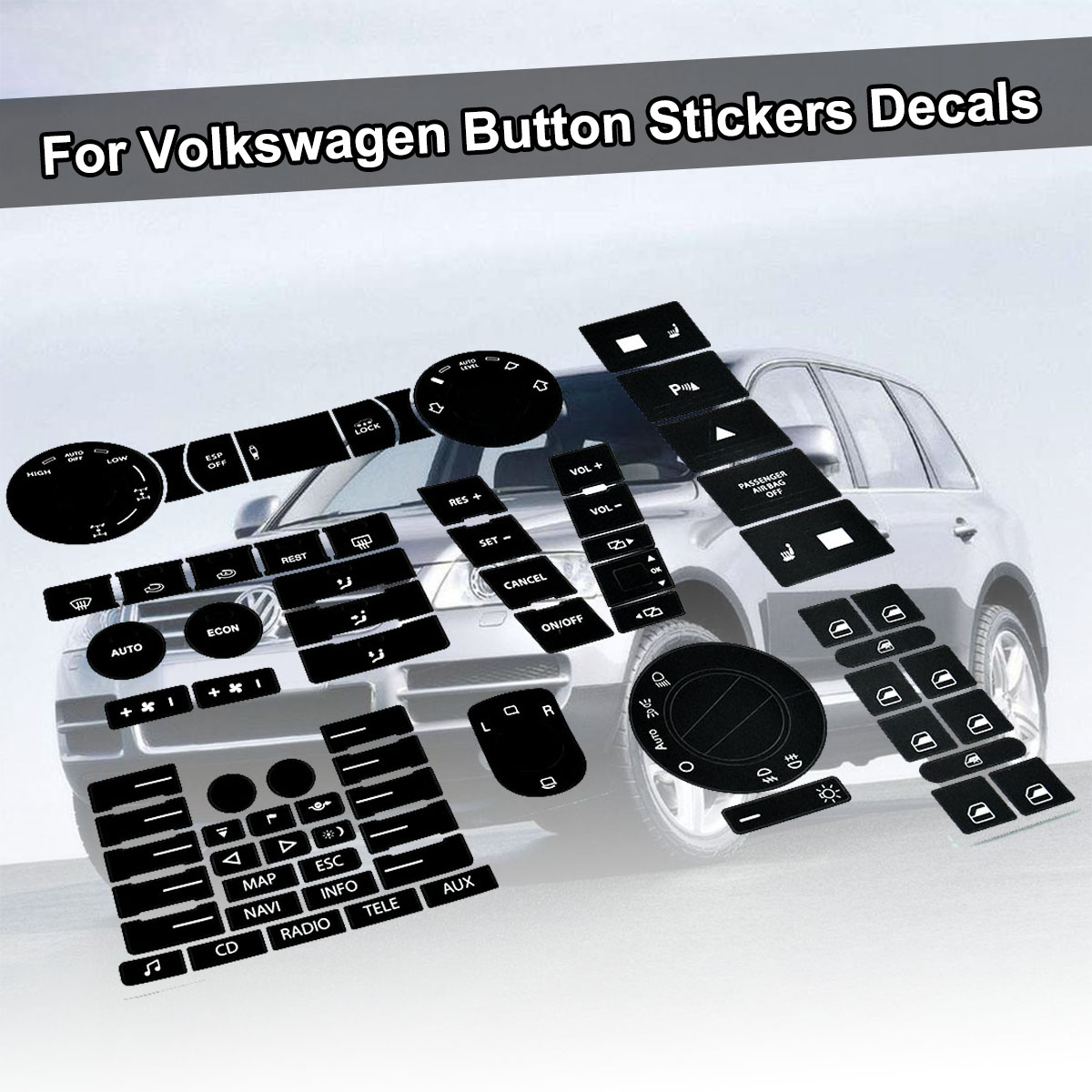 For VW For Volkswagen Touareg 04-09 Steering Wheel Windows Headlight Climate Switch Worn Button Auto Stickers Decals Replacement