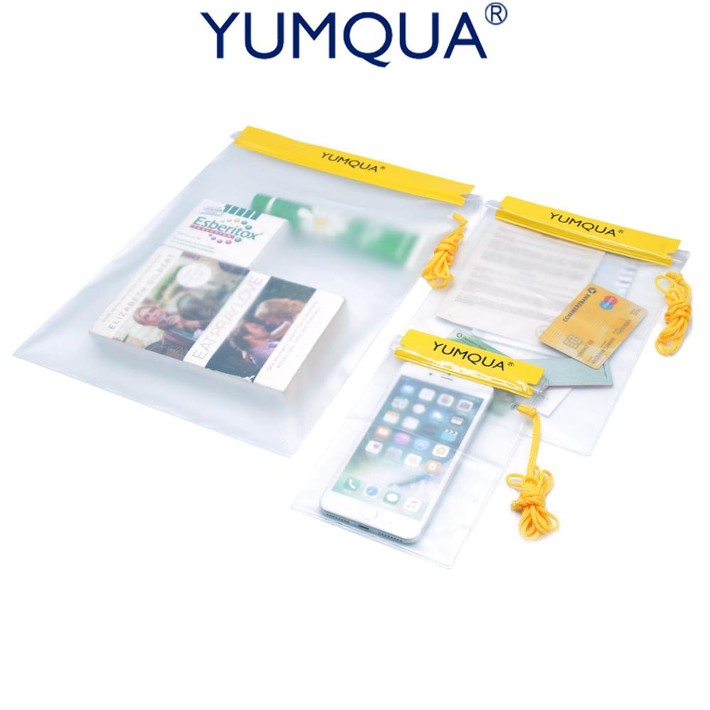 YUMQUA 3 Pack Hiking Military Document Waterproof Case Clear Water Resistant Tight Dry Bags Cover Large Water-proof Pouch Cases