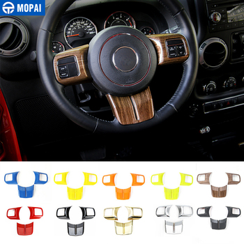 MOPAI ABS Car Interior Steering Wheel Decoration Cover Stickers For Jeep Wrangler For Patriot For Compass for Cherokee 2011 Up