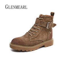 Genuine Leather Women Ankle Boots Female Winter Shoes Brand  Women Warm Boots Lace Up Platform Female Shoes Plush Fur Leather Ca beyarne women vintage style genuine leather ankle boots handmade lace up female warm winter shoes flat booties