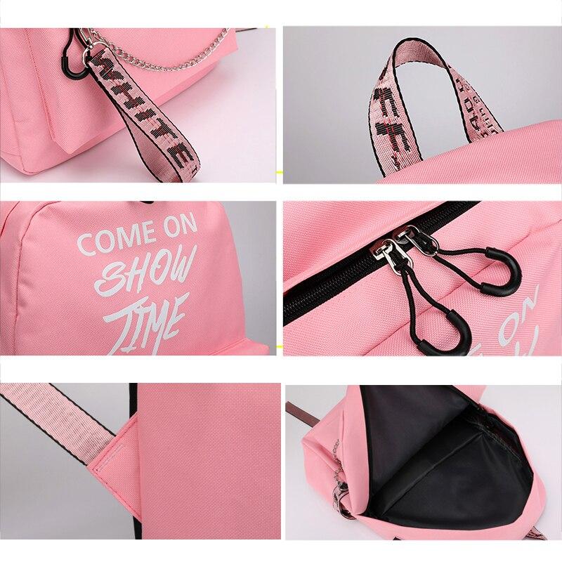 USB Charge Luminous Chain Nylon female book schoolbag school bag travel pack fashion women teenage teenagers girls
