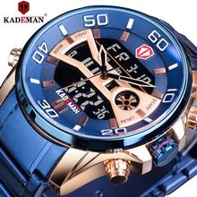 KADEMAN Blue Men Digital Watch Big Dual Analog Date Stopwatch Sport Clock Racing Stainless Steel Quartz Wristwatch Montre Homme