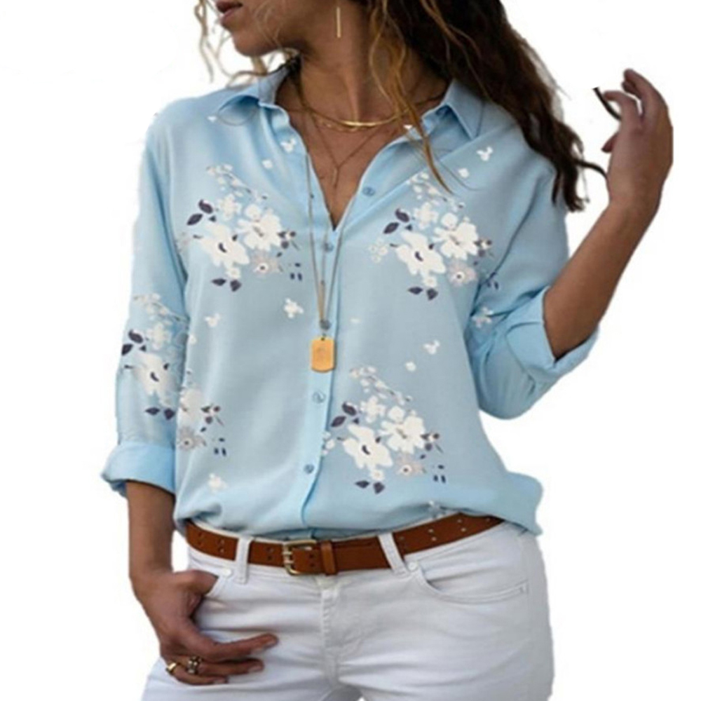 Shirts Autumn Tops Work-Wear Women Clothing Long-Sleeve Floral-Print Female V-Neck