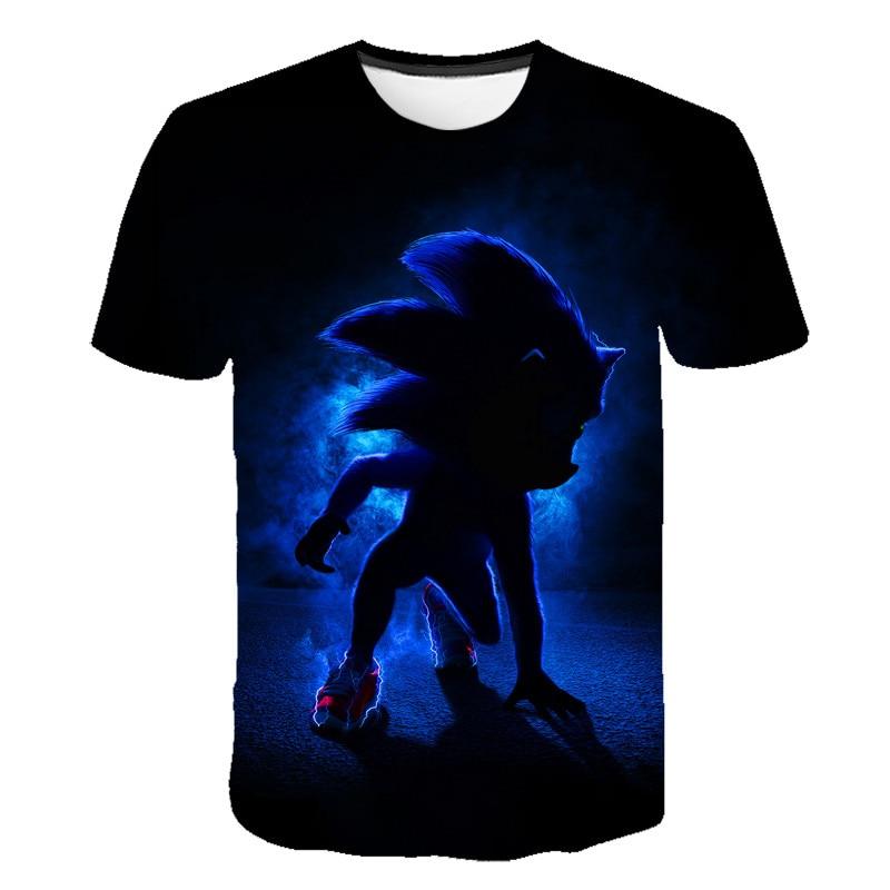 Sonic Summer T Shirt For Choldren Boys Girls 3D Cartoon Printed Short Tee T-shirt Polyester Tshirt Kids Children Clothes 4-14T