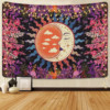 Moon Garden Tapestry Plant Flower Tapestry Wall Hanging Moon Star Mysterious Multicolored Decor Mandala Home Tapestry Wall Mount