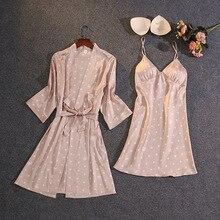 Silk Sleepwear Nightwear Gown-Set Robe Sexy Summer Print 2PCS with Bra New Casual Female