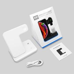 Image 5 - צ י אלחוטי מהיר מטען טעינת Pad Stand Dock 15W עבור Iphone 11 פרו מקס אפל שעון 4 3 2 airpods תחנת Chargeur אינדוקציה