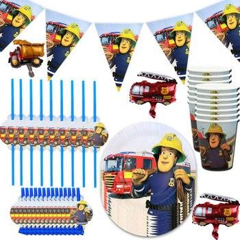 Suministros de decoración para fiesta con dibujos de bombero sam, vajilla de papel desechable, plato de papel, toalla de papel, Pajita, niños, cumpleaños, Navidad