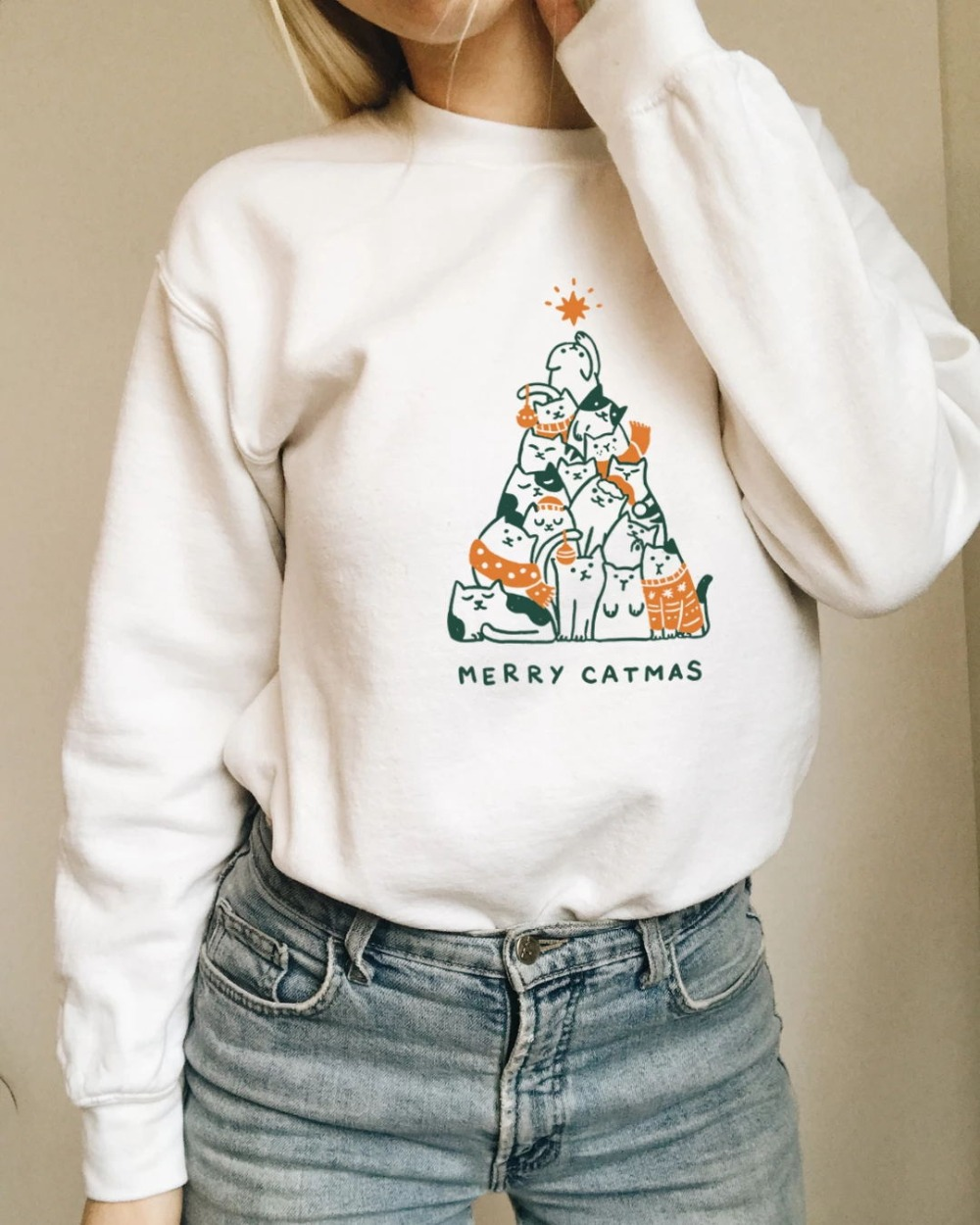 Merry Catmas Colored Sweatshirt Casual Stylish Funny Christmas Fashion Clothing Hoodies Merry Christmas Cat Jumper Outfits