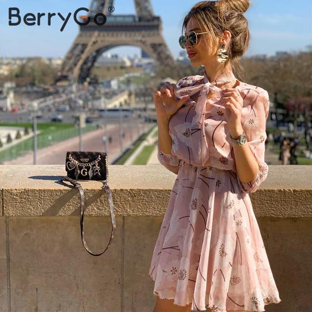 BerryGo Vintage floral print boho dress women Casual long sleeve spring chic party dress High waist work wear office lady dress