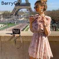 BerryGo Vintage floral print boho kleid frauen Casual langarm frühling chic party kleid Hohe taille der arbeit tragen büro dame kleid