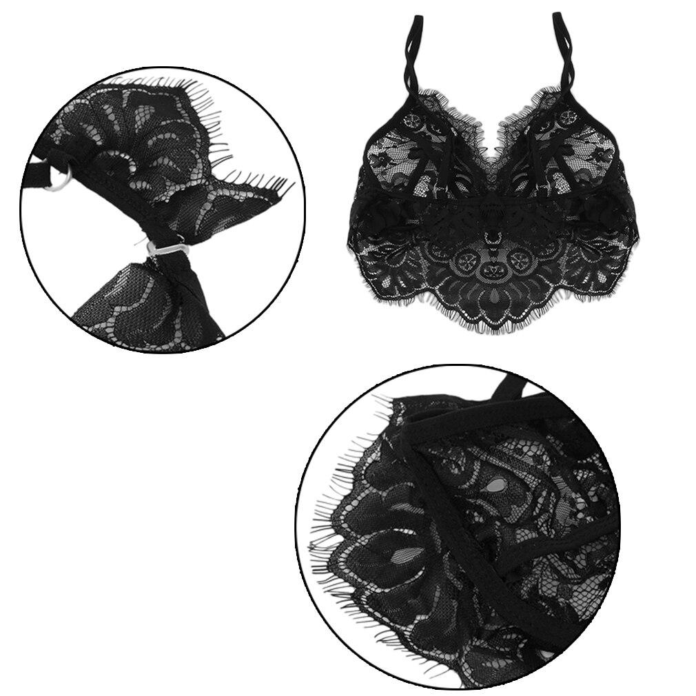 Black Ultra Seductive Eye-Catching Stylish Popular Sexy Women Lingerie Lace Dress Babydoll Underwear Sleepwear Bra+Panty Set
