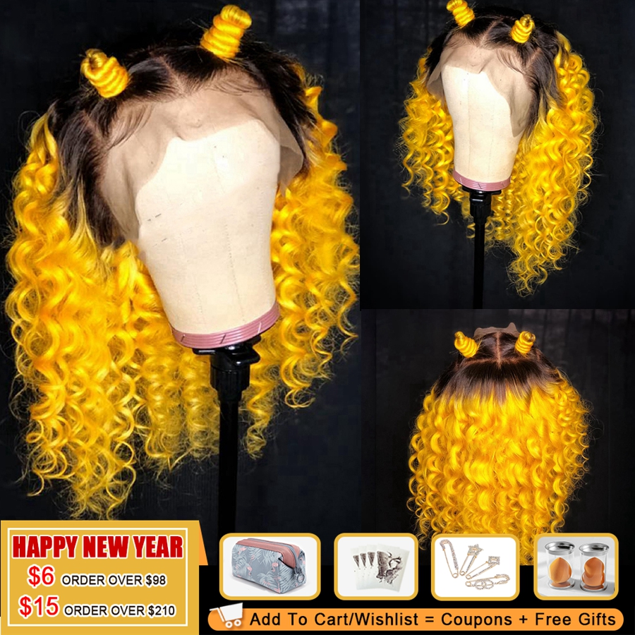 COLODO Brazilian Curly Human Hair Wig Ombre Yellow Remy Hair Lace Front Wig Pre Plucked 150% Density Orange Lace Wigs For Women