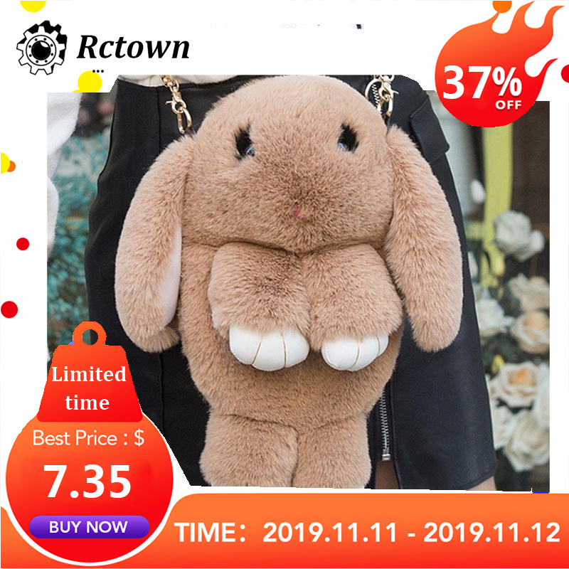 Cute Fluffy Rabbit Fur Pompoms Chain Bag Women Cartoon Rabbit Sling Bag Fluffy Bunny Shoulder Plush Backpack