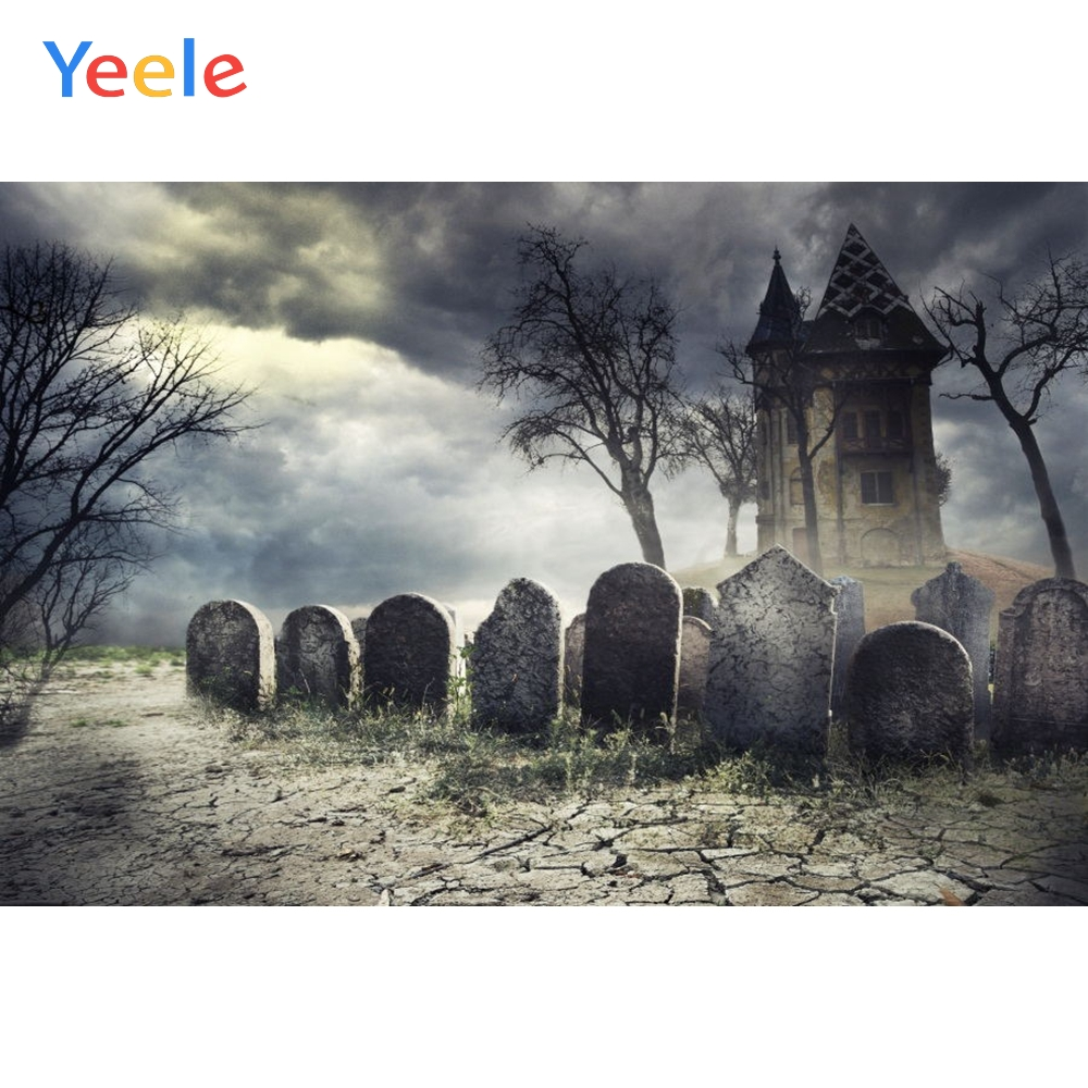 Yeele Happy Halloween Backdrop Tomb Tombstone Castle Night Forest Customized Vinyl Photography Backgrounds For Photo Studio in Background from Consumer Electronics