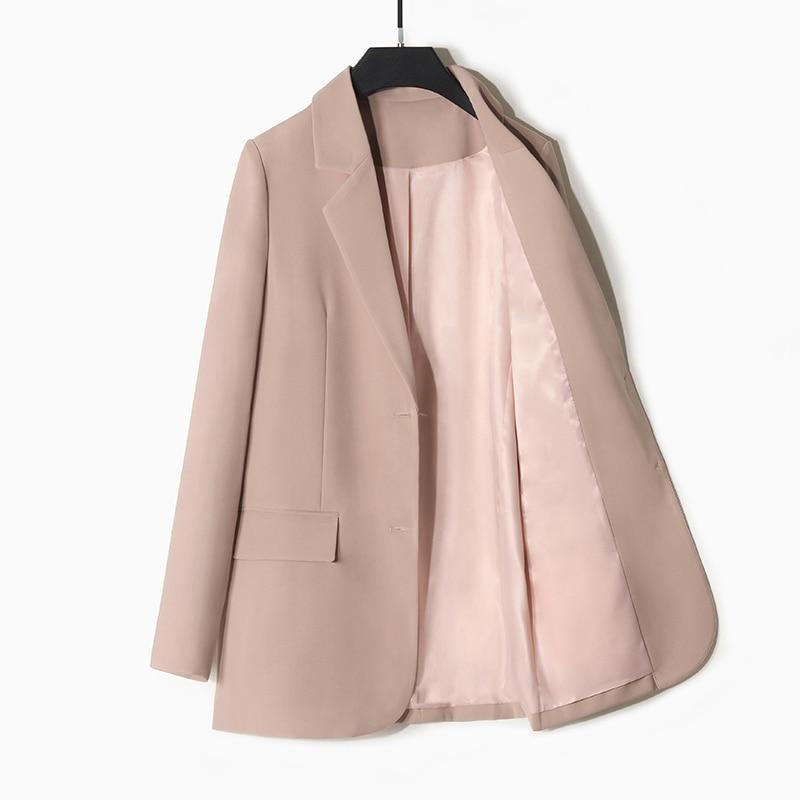 Vintage Casual Ladies Blazer Solid Pink Loose Simple Suit Jacket Long Sleeve Korean Spring Autumn Women's Clothing New MM60NXZ