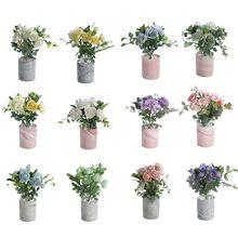 лучшая цена Artificial Flower Potted Plants Bonsai Fake Wedding Party Garden Home Decor Prop