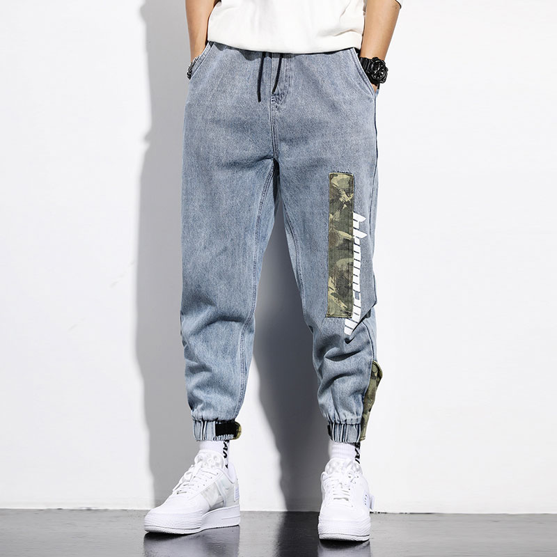 Fashion Streetwear Men Jeans Loose Fit Retro Blue Harem Jeans Camouflage Spliced Designer Cargo Pants Hip Hop Jeans Men Joggers
